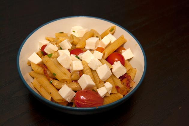 Penne With Two Tomatoes And Mozzarella Recipe — Dishmaps